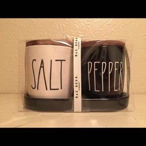 Rae Dunn Salt and Pepper Cellars with Tray Lid HTF